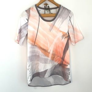 Calvin Klein Jeans gray and peach watercolor top